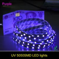 Wholesale Waterpoof Strip Led Light - 5M 5050 UV Ultraviolet LED Strip Light DC 12V 300Led Non-waterpoof Led Flexible Tape Ribbon can identify money