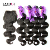 Wholesale hair bundles closures 5pcs resale online - 5Pcs Peruvian Body Wave Virgin Human Hair Weaves Bundles With Lace Closure Unprocessed Peruvian Remy Wavy Hair And Top Closure Size