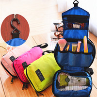 Wholesale Portable Beauty Cases - New Cosmetic Case Makeup Travel Toiletry Hanging Purse Holder Beauty Portable Bags Wash Make up Bag Organizer With Hook B0622