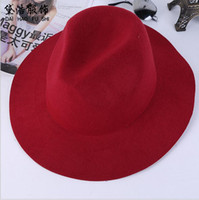 Wholesale British Top Hat Black - Fashion Vintage Women Ladies Floppy Wide Brim Stingy Brim Hats Wool Felt Fedora Cloche Hats Cap British style freeshiping
