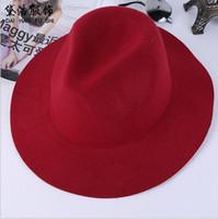 kadın yünü keçe klişe şapkaları toptan satış-Moda Bağbozumu Kadınlar Bayanlar Disket Geniş Brim Cimri Brim Şapka Yün Keçe Fedora Cloche Şapka Kap İngiliz tarzı freeshiping