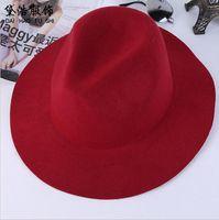 sombrero de fieltro de ala ancha al por mayor-Moda Vintage Ladies Ladies Floppy Wide Brim Stingy Brim sombreros de lana fieltro Fedora Cloche sombreros Cap estilo británico freeshiping