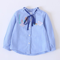 Wholesale Mushroom Blend - Girls butterfly mushroom embroidery shirt spring children stripe lace-up Bows collar blouses 2018 new kids long sleeve princess tops R1625