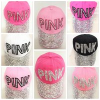Wholesale pink pointer - PINK ladies drill pointer cowboy diamond male and female sun hat multi-color PINK point drill cowboy baseball cap brand hat YYA563