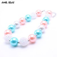 Wholesale Wholesale Coral Beaded Jewelry - MHS.SUN Coral Pink Design Kid Chunky Necklace Fashion Toddlers Girls Bubblegum Bead Chunky Necklace Jewelry Gift For Children