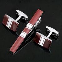 krawatte clip stahl großhandel-Edelstahl-Manschettenknopf und Krawattenklammer-Verschluss-Stab stellte Geschenk-Kasten-freies Verschiffen für Mann-Geschenk-französisches Hemd-Qualität Z-031 ein