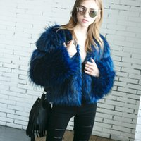 Wholesale Womens Vests Size Xl Blue - 2017 Luxury Blue Winter Fashion Slim Faux Fur Coat For Womens Long Sleeve Warm Short Imitation Fur Jackets Plus Size FS3087