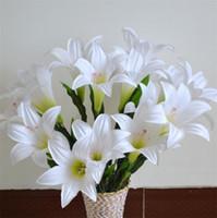 "Wholesale Wedding Bouquet Pieces - Silk Lily Bunch (9 heads piece) 52cm 20.47"" Length Artificial Flowers Greenish Lily Flower for DIY Bridal Bouquet Wedding Centerpieces"