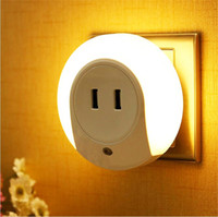 Wholesale Mini Light Sockets - Fashion Cute LED Night Lights with Two USB Socket for Charge Phone White Round Mini Nights Lamps OED-CLT002