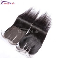 Wholesale Straight Indian Hair For Sale - Cheap 8A Indian Hair Lace Closure Pieces Silky Straight Free Middle 3 Part Top Lace Closures Bleached Knots 100% Human Hair For Sale
