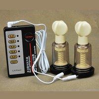 Wholesale Small Electric Toy - 20pcs Wholesale Electric Shock Suction Cupping Breast Massager Breast Enlarger Vacuum Cup Nipples Pulse Physical Therapy Toy for Female A14