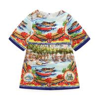 moda belleza niños al por mayor-Summer Europe Fashion Girls Vintage Dress Kids Boat Impreso Princesa de la belleza del vestido Niños Casual Tops Court Party Dresses