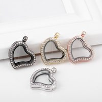 Wholesale Necklaces Photo Frame - Heart love Floating locket DIY Jewelry Living Memory photo glass crystal frames open charm floating lockets pendants for necklace 160294