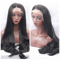 Cheap Sexy Middle Part Black Body Wave Long Perruques avec cheveux bébé Glueless Brazilian Synthetic Lace Front Perruques pour Black Women Résistant à la chaleur