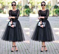 Wholesale Cheap Long Lace Peplum Dress - Cheap 2016 Tea Length Prom Dresses 3 4 Long Sleeves Jewel A Line Black Evening Gowns Lace Long Party Dresses