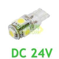 Wholesale Truck Lights Reversing - T10 DC 24V 5-SMD 5050 LED MAKER DEMO 194 168 w5w Interior Wedge White Lights 6000K Bulbs For Truck Free Shipping