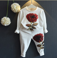 Wholesale Girls 3t Fall Clothes - INS Kids Clothing Sets 2016 New Fall Winter Girls Boys Clothes Sweatshirts+Casual Pants 2Pcs Girls Suit roupas de bebe fille Christmas 3-7y