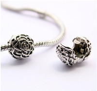 Wholesale Christmas Flower Clips Wholesale - Rose Silver Clip With Silver Plated Flower Lock Stopped European Beads Fit Pandora Bracelets & Necklace Christmas Gfits