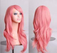 Wholesale Hatsune Miku Anime Wigs - Wholesale-Hatsune Miku Anime Wig Synthetic Hair Long Curly Wave Cosplay Wig Pink peluca Cosplay Perruque peruca femininas