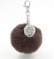 Wholesale Stamp Rabbit - EOSMER 100PCS lot 20mix color DHL free shipping genuine rabbit fur plush ball handbag keychain car pendant with cyrstal stamped plate