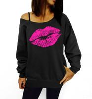 ingrosso pullover una spalla-Sexy labbra stampate con cappuccio donna moda una spalla sciolto pullover girocollo tuta felpa casual pullover blusas mujer per la femmina