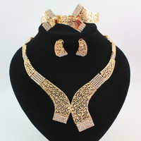 Wholesale Middle East Bridal Jewellery - Jewelry Sets Gold Silver Plated Statement Necklace Bracelet Earring Ring Fashion Crystal Hollow Tribal Bridal Bridesmaid Wedding Jewellery