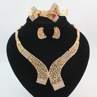 ingrosso set di gioielli da damigella d'onore-Set di gioielli in oro / argento placcato dichiarazione collana bracciale orecchino anello moda cristallo Hollow tribale da sposa damigella d'onore gioielleria