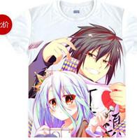 Wholesale Unique Cosplay - Men's Unique Anime T-shirt 3d Print No Game No Life NGNL Sora Shiro Short Sleeve Casual Cosplay T Shirt