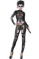 Skeleton Tag der Toten Kostüm Frauen Sexy Zucker Schädel Dia Blume Fairy Halloween Ghost Vampir Braut Fancy Dress LC89047