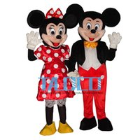 Wholesale Couple Music - New Mouse Couple (minnie and mickey) Mascot costume Adult Size Mouse Free Shipping