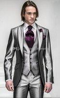 Wholesale Grey Men Slim Fit Suits - Wholesale - Arrival Slim Fit Silver Grey Satin Groom Tuxedos Best Man Peak Lapel Groomsmen Men Wedding Suits Bridegroom