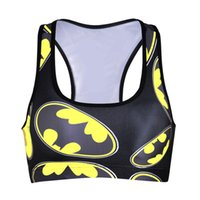 Wholesale Women Workout Shirts - BATMAN Bras Lady Sport Elastic Top BAT MAN Vest Bat Hero Tank Shirt Breathable GYM Workout Fitness Quick-Drying Black Color Red LNSsb