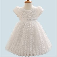 Wholesale Shorter Wedding Dresses For Boat - High grade 2016 cute formal ball gown princess wedding white dresses baby girls draped zirconia newborn clothing for summer