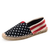 Wholesale Straw Flags - 2016 New Lovers American Flag Straw Shoes Couple Of Casual Shoes Men Women Loafers Men's Lazy Leisure Canvas Shoes Retail