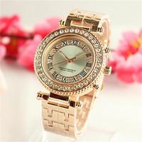 Wholesale Diamond Silver Watch Women - Luxury Rome digital surface shell Rhinestone Diamond inlay Clock dial woman Quartz Watches High quality new Watches Wholesale