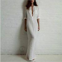 Wholesale Maxi Red Wines - Fashion Summer Women Dresses Linen Cotton Casual Long Split Maxi Wrap Shirt Dress Ladies Vestidos Wine Red White Black V-Neck Dress SV027046