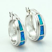 Wholesale Earrings Hoop Opal - Wholesale-Free Gift Box 2016 New Style 16mm Synthetic Blue Fire Opal Hoop Women Earrings + Free Shipping With Tracking Number