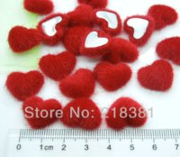 Wholesale Quilt Fabric Hearts - 100pcs 17mm Red Color Heart Handmade Velvet Fabric Covered Chunky Buttons - Flat Backs A00828 M68234