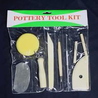 ingrosso strumenti hobby-8pcs / set strumenti di scolpire argilla fai da te - ceramica intaglio modellazione hobby set di strumenti artigianali fai da te per i bambini a scuola