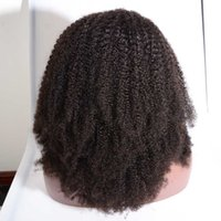 Wholesale Natural Afro Hairstyles - Glueless human hair afro kinky curly wig 250 density Peruvian lace front wigs afro kinky curly lace wig for black women