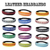 2016 vente en gros nouveau design 26 couleurs SOFTBALL SEAMSTITCH HEADBAND Stretch Sports Softball LEATHER Stretch Elastic Sport headband DHL gratuit