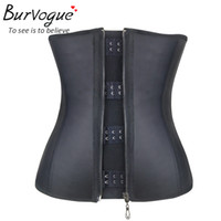 Wholesale Sexy Steel Bone Underbust Corset - Latex Zip and Hook Steel Bone Underbust Corsets New Black Slip Rubber Waist Training Cincher Body Shaper Sexy Slimming Shapewear