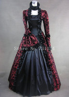 Wholesale Gothic Victorian Wedding - Wine Red Print Brocade Victorian Gothic Wedding Georgian Period Marie Antoinette Dress Ball Gown Vintage Victorian Period Costumes Women