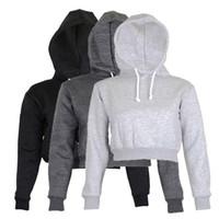 nuevos hoodies de otoño para damas al por mayor-Sudadera con capucha completa Abrigos Negro Otoño Nuevo Breve Ropa casual Mujer Ropa de mujer Tops Crop liso Top Con capucha