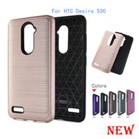 Wholesale Desire Gold - For HTC Desire 530 For Samsung galaxy Grand Prime G530 S7 edge J5 Armor Hybrid Brush carbon fiber Case TPU PC Brushed Cover