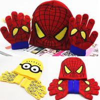 Wholesale Minions Hats For Kids - Mix Wholesale Spiderman Winter Warm Hats Gloves Set for Kids Minions Big Eyes Children Boys Girls Knitted Beanie Woolen Hat Glove Sets 1-5Y