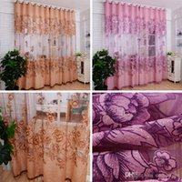 Wholesale 1pc Vogue Room Floral Tulle Window Screening Curtain Drape Scarfs Valances Sheer Curtains E00612 SPDH