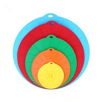 Wholesale lid pan resale online - 5pcs set Silicone Preservation Lid Bowl Pan Cooking Pot Lid Reusable Suction Seal Covers Spill proof Food Grade Silicone Pot Cover