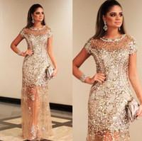 sehen sie durch champagner abendkleider großhandel-Luxus Sparkly Gold Pailletten Brautkleider Sexy Crew Caped Ärmel Durchsichtig Champagner Formale Abend Promi Partykleid Dubai Gala