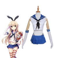 Wholesale Dress Games Girls - Anime Game Kantai Collection Cosplay Costumes Shimakaze Cosplay Costumes Sailor Navy Suit Girls' Cosplay Dress